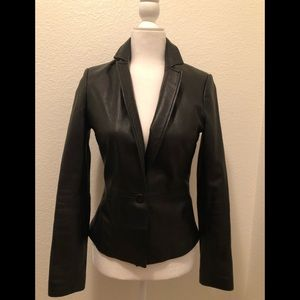 Cache leather black  blazer jacket